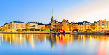 SWE4352AW Gamla stan, Stockholm, Sweden, Northern Europe. Cityscape panorama at sunrise.