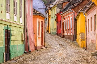 ROM1236AW Streets of the medieval town Sighisoara, Transylvania, Romania