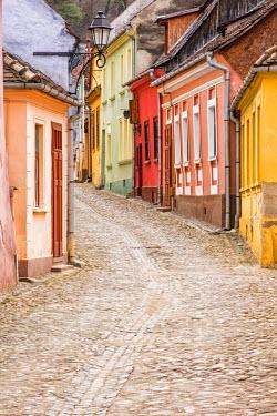 ROM1237AW Streets of the medieval town Sighisoara, Transylvania, Romania