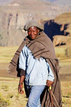 LES1178 Africa, Lesotho, highland shepherd