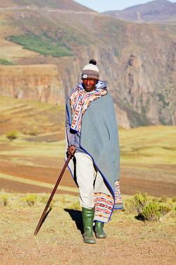 LES1179 Africa, Lesotho, highland shepherd