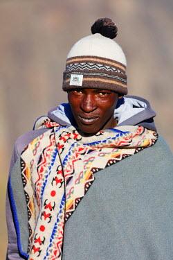 LES1180 Africa, Lesotho, highland shepherd