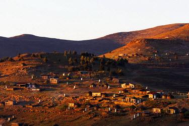 LES1190 Africa, Lesotho, highland village
