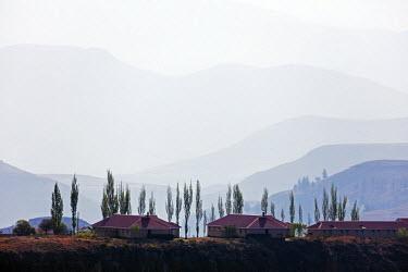 LES1193 Africa, Lesotho, highland scenery, Katse village