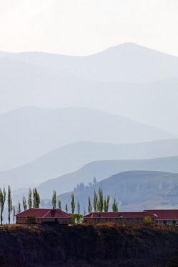 LES1194 Africa, Lesotho, highland scenery, Katse village