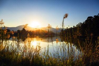 SWA0032 Swaziland, Mlilwane Wildlife Sanctuary, lakeside scenery at sunset
