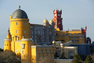 POR9135RF Portugal, Sintra. The Pena Palace, or Palacio da Pena, stands atop the Sintra Mountains near Lisbon.
