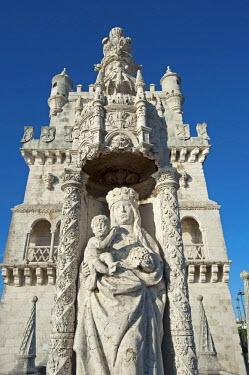 POR9134 Portugal, Belem.  A statue of the Virgin of Belém, or Nossa Senhora de Bom Successo (Our Lady of Good Success).