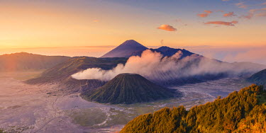 IDA0722AW Java, Indonesia, South East Asia. High angle view of Mount Bromo at sunrise.