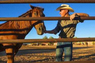 HMS2191604 United States, Arizona, Tucson, White Stallion Ranch, cow boy
