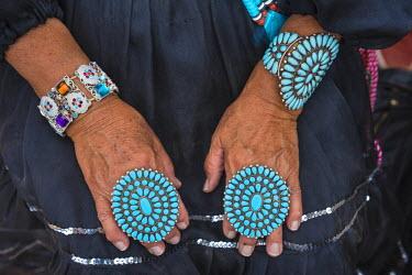 HMS2191638 United States, Arizona, Window Rock, Festival Navajo Nation Fair, traditional jewels