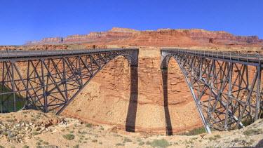 HMS2259062 United States, Arizona, Glen Canyon National Recreation Area near Page, Navajo Bridge crossing the Colorado River over Marble Canyon (1929 bridge at right, 1995 bridge at left)