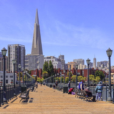 HMS1905265 United States, California, San Francisco, Embarcadero, the waterfront and the Transamerica Pyramid by architect William Pereira