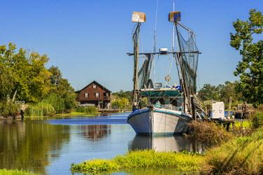 HMS2163238 United States, Louisiana, Pointe aux Chenes, shrimp boats on the bayou