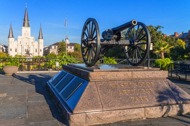 HMS2189406 United States, Louisiana, New Orleans, French district, Saint Louis cathedral in Jackson Square