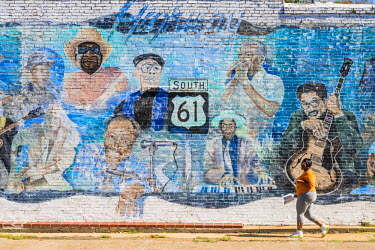 HMS2097986 United States, Mississippi, Leland, mural about Highway 61, the Blues Highway,