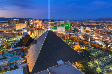 United States, Nevada, Las Vegas, Luxor Hotel and Casino and the Strip