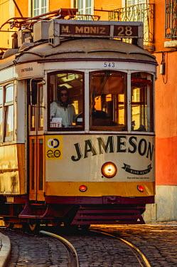 POR9213AW Portugal, Lisbon, Tram number 28 in Alfama.
