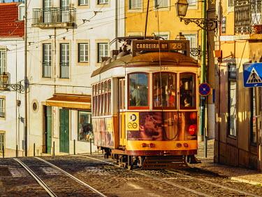 POR9216AW Portugal, Lisbon, Tram number 28 in Alfama.