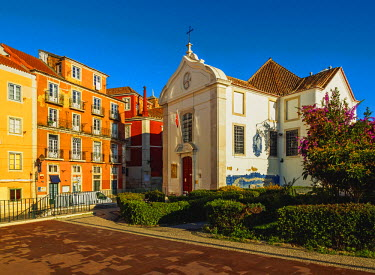 POR9219AW Portugal, Lisbon, View of the Santa Luzia Church.