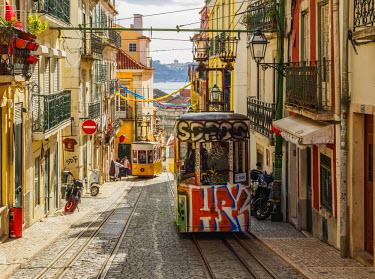 POR9236AW Portugal, Lisbon, View of the Bica Funicular.