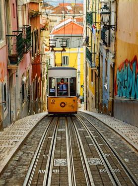 POR9242AW Portugal, Lisbon, View of the Bica Funicular.