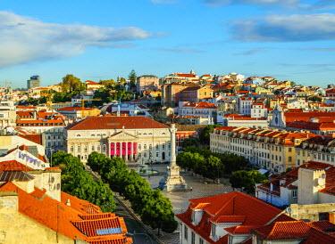 POR9259AW Portugal, Lisbon, Elevated view of the Pedro IV Square.