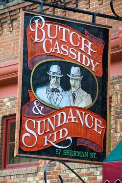 HMS0515579 United States, South Dakota, Black Hills, Deadwood, main street, teaches saloon