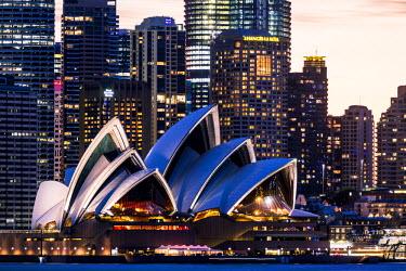 AUS2557AW Sydney at dusk. Opera house and cityscape skyline