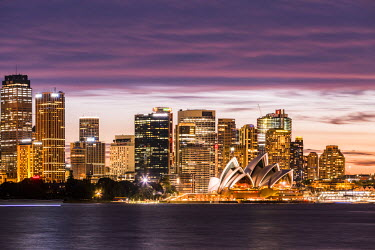 AUS2558AW Sydney at dusk. Opera house and cityscape skyline