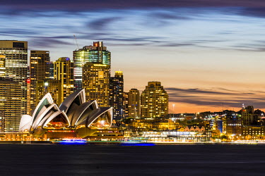 AUS2559AW Sydney at dusk. Opera house and cityscape skyline