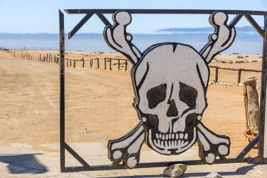 NAM6351AW Africa, Namibia, Skeleton coast. Entrance gate.