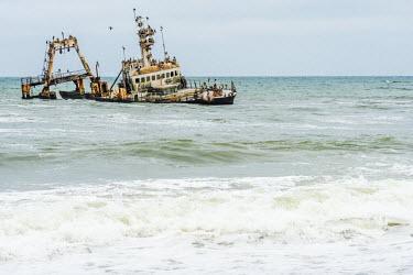 NAM6356AW Africa, Namibia, Skeleton coast. shipwreck zeila.