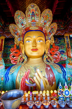 India, Jammu & Kashmir, Ladakh, Thiksey Monastery. Erected in 1970 to commemorate a visit by the 14th Dalai Lama, the 49ft tall statue of the Maitreya Buddha in the monastey's Maitreya Temple is the l...