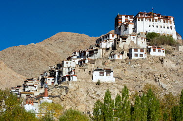 IND8277 India, Jammu & Kashmir, Ladakh, Chemrey. Founded in the 17th century, Chemrey Monastery, or gompa, stands perched on a hill overlooking Chemrey village.