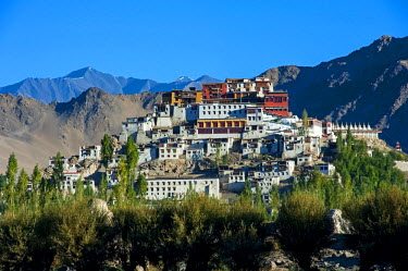 IND8285 India, Jammu & Kashmir, Ladakh, Thiksey. Thiksey Monastery, or Gompa, is one of the region's largest and most famous monasteries.