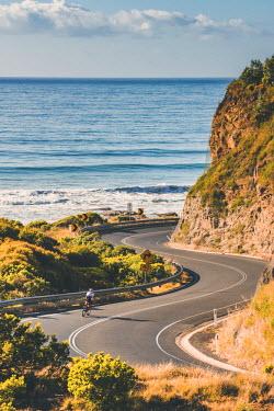 AUS2806AW Great Ocean Road, Victoria, Australia. Bending road.
