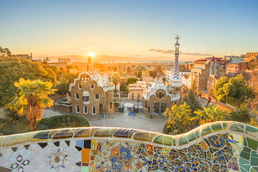 SPA7177AW Barcelona, Catalonia, Spain, Southern Europe. Unique Antoni Gaudi's architecture of Park Guell at sunrise.