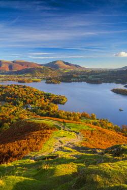 UK08018 UK, England, Cumbria, Lake District, Derwentwater, Blencathra mountain above Keswick