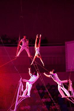 NKO0355 Trapeze artists at the Pyongyang State Circus, North Korea