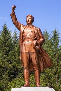 NKO0378 A statue of a young Kim Il Sung showing him in military uniform victorious after the Battle of Pochon, an anti-Japanese struggle in 1937, North Korea