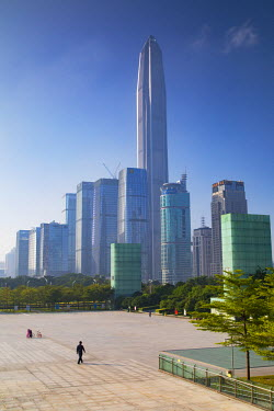 CH10753AW Ping An International Finance Centre (world��s 4th tallest building in 2017 at 600m) and skyscrapers around Civic Square, Futian, Shenzhen, Guangdong, China