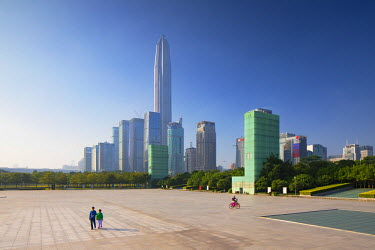 CH10754AW Ping An International Finance Centre (world��s 4th tallest building in 2017 at 600m) and skyscrapers around Civic Square, Futian, Shenzhen, Guangdong, China