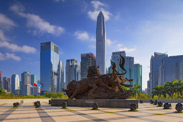 CH10763AW Ping An International Finance Centre (world��s 4th tallest building in 2017 at 600m) and bull sculpture outside Shenzhen Stock Exchange, Futian, Shenzhen, Guangdong, China