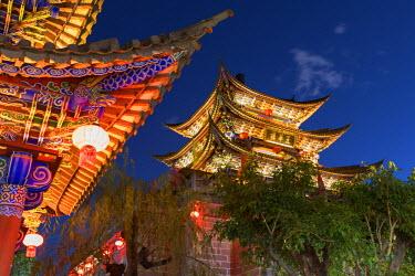 CH10799AW Wu Hua Gate at dusk, Dali, Yunnan, China