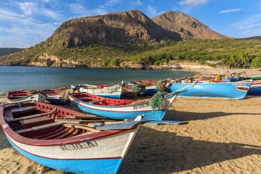 CVE0002AW africa, Cape Verde, Santiago. Fishing boats at the beautiful beach of Tarrafal.
