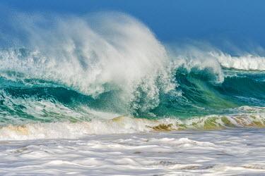 CVE0098AW africa, Cape Verde, Sal. Waves near to Ponta Preta