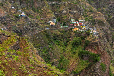 CVE0102AWRF africa, Cape Verde, Santo Antao. The village of Fontainhas on the coastal hike.