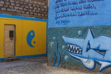 CVE0105AWRF Africa, Cape Verde, Sao Vicente. Mindelo, township of Ribeira Bote.
