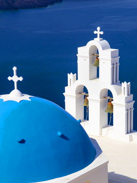 GRE1344AW Blue domed church of Fira, Santorini, Greece